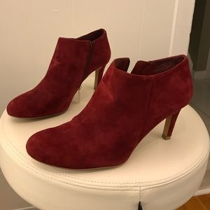 Vince Camuto red suede ankle boots, size 8